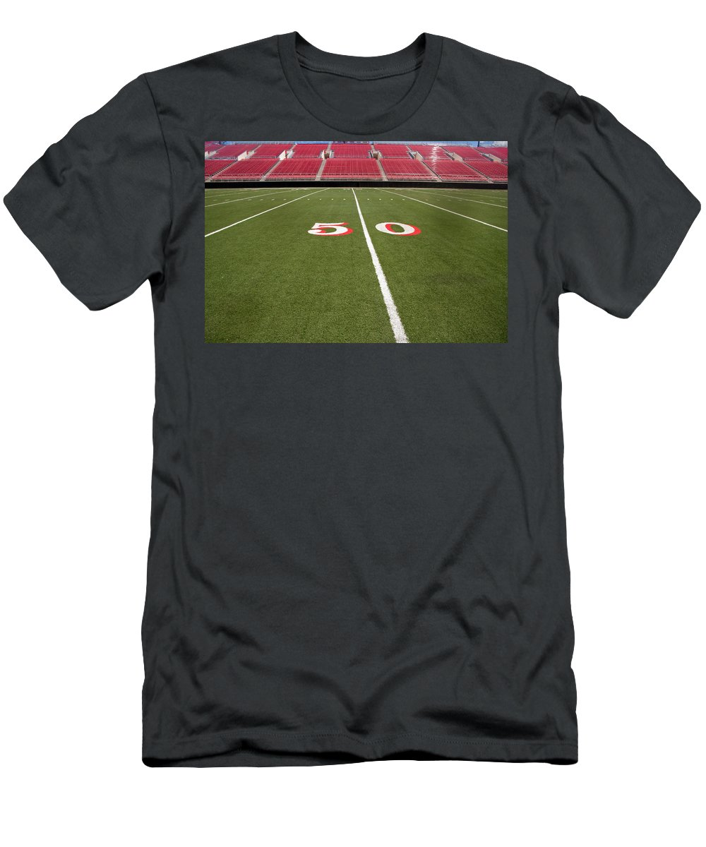 Architecture Men's T-Shirt (Athletic Fit) featuring the photograph Empty American Football Stadium 50 Yard Line by Gunter Nezhoda