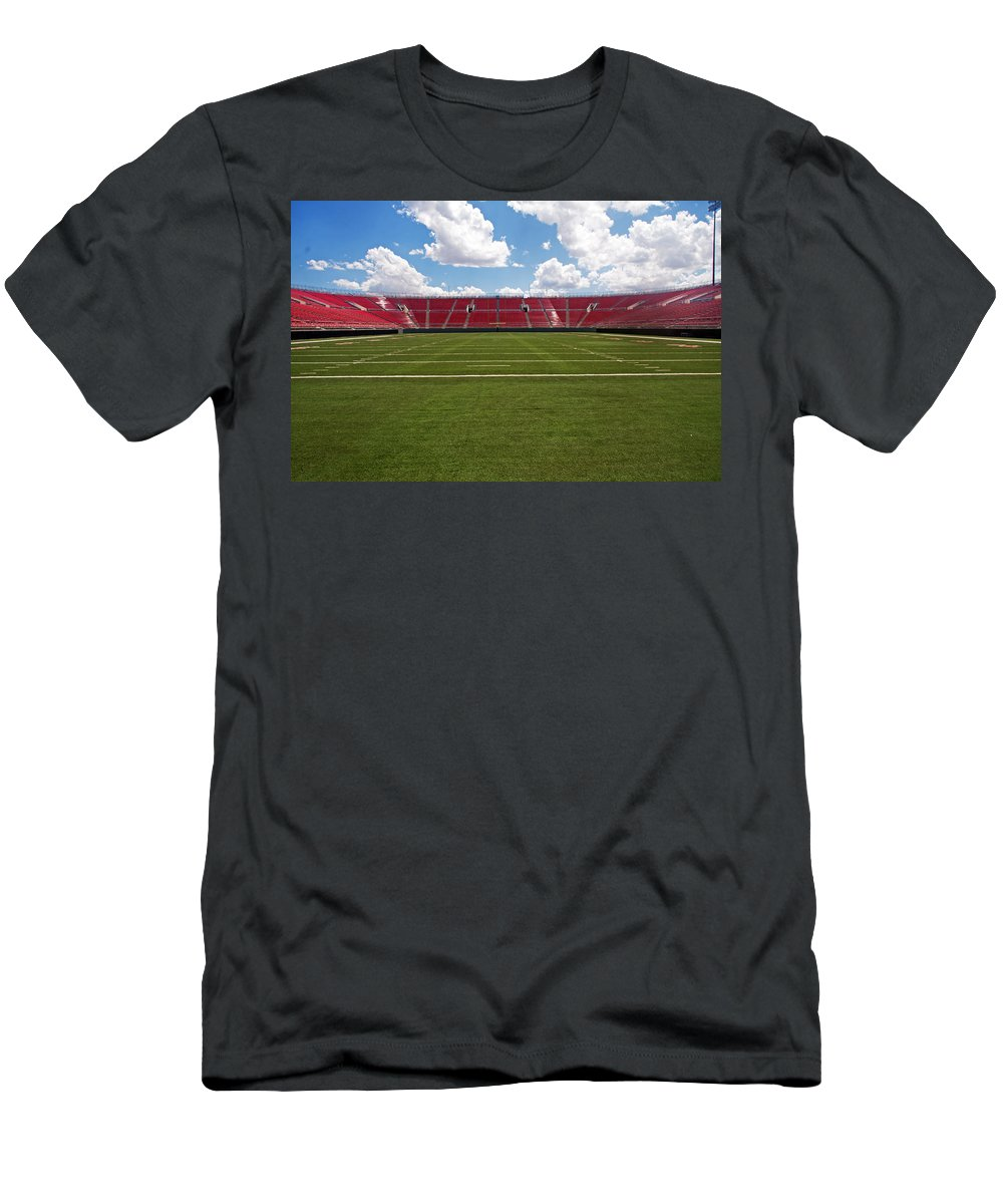 Architecture Men's T-Shirt (Athletic Fit) featuring the photograph Empty American Football Stadium by Gunter Nezhoda