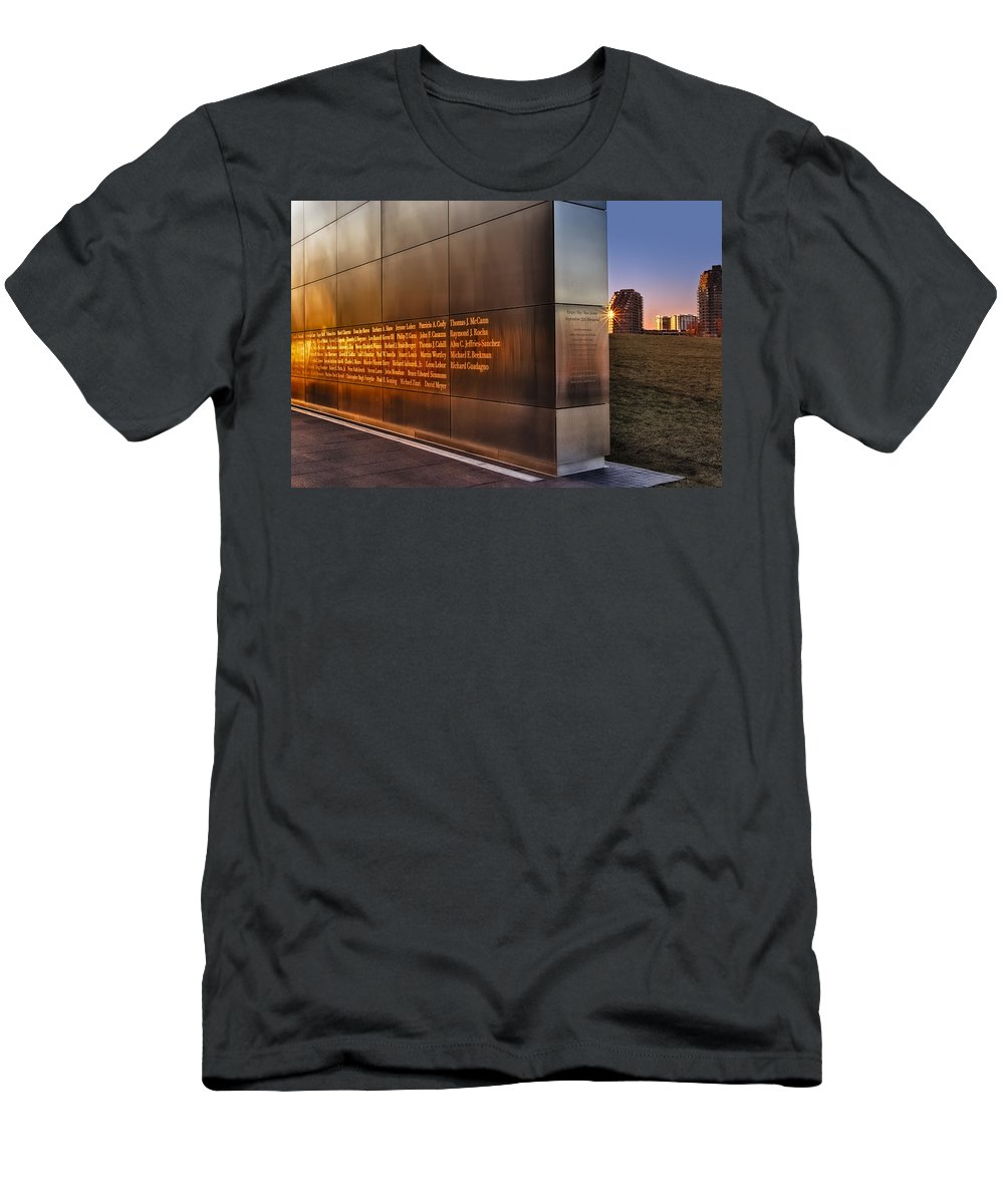911 Men's T-Shirt (Athletic Fit) featuring the photograph Empty Sky Nj 911 Memorial by Susan Candelario
