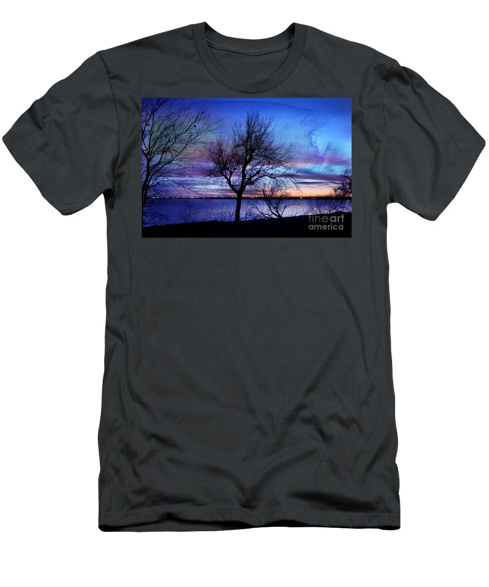 Landscape Men's T-Shirt (Athletic Fit) featuring the photograph End Of Day by Betty LaRue