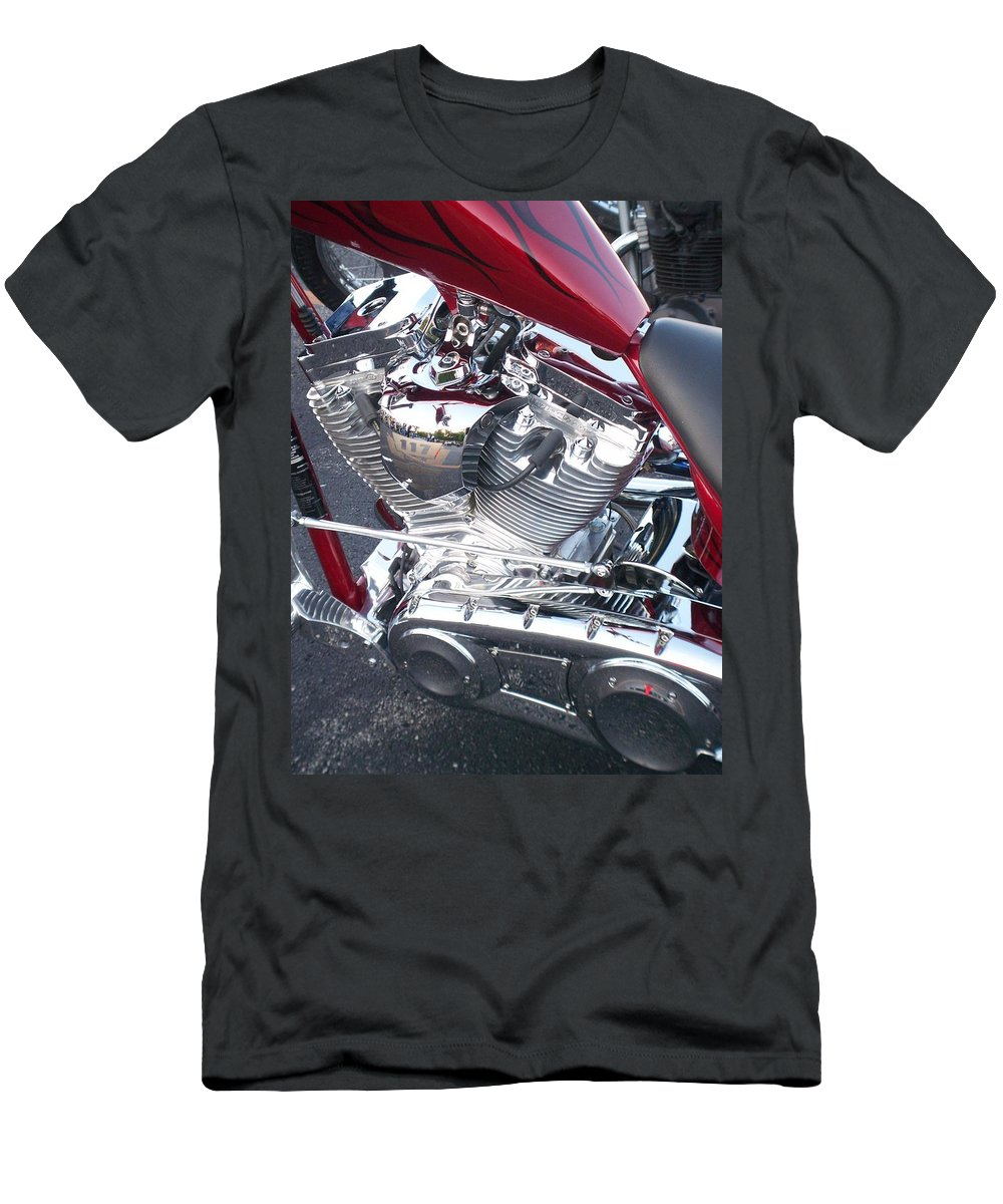 Motorcycles Men's T-Shirt (Athletic Fit) featuring the photograph Engine Close-up 4 by Anita Burgermeister