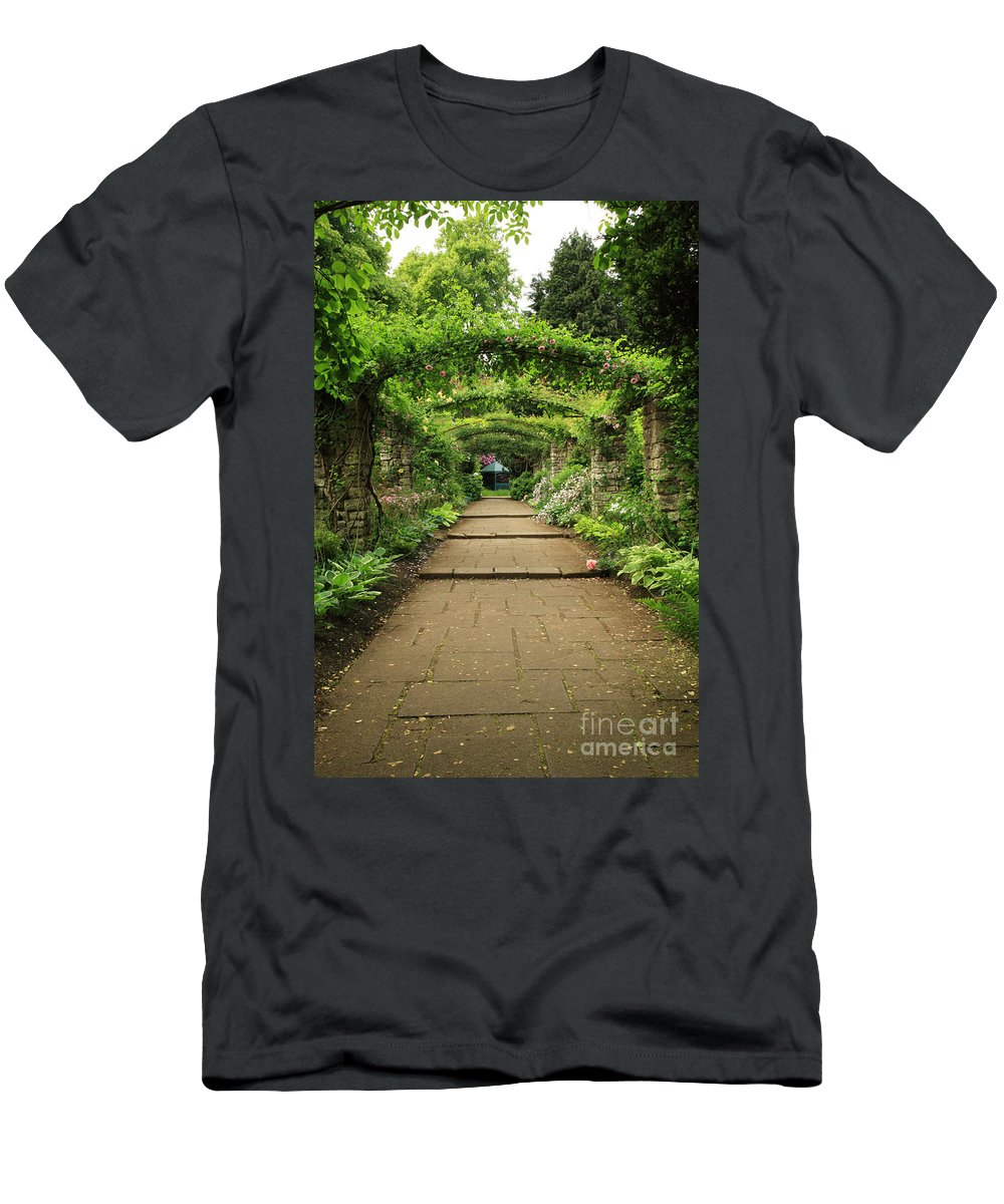 Botanical Men's T-Shirt (Athletic Fit) featuring the photograph English Country Garden by Deborah Benbrook