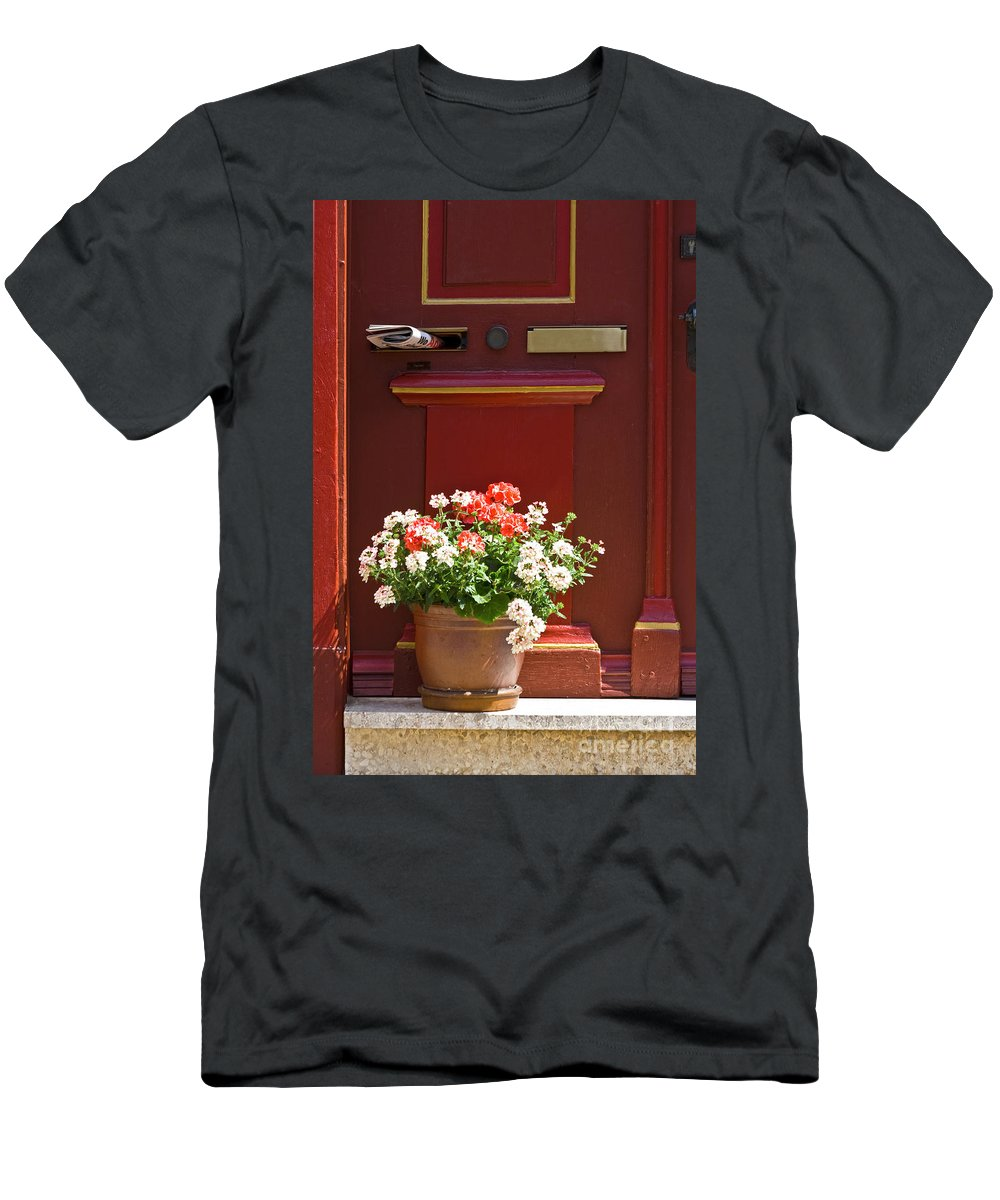 Men's T-Shirt (Athletic Fit) featuring the photograph Entrance Door With Flowers by Heiko Koehrer-Wagner