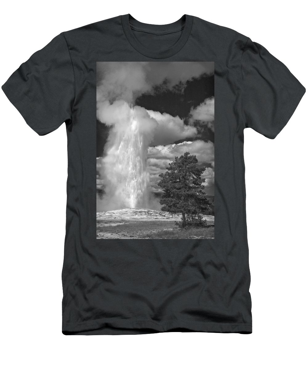 Eruptions By The Clock Men's T-Shirt (Athletic Fit) featuring the photograph Eruptions By The Clock by Wes and Dotty Weber