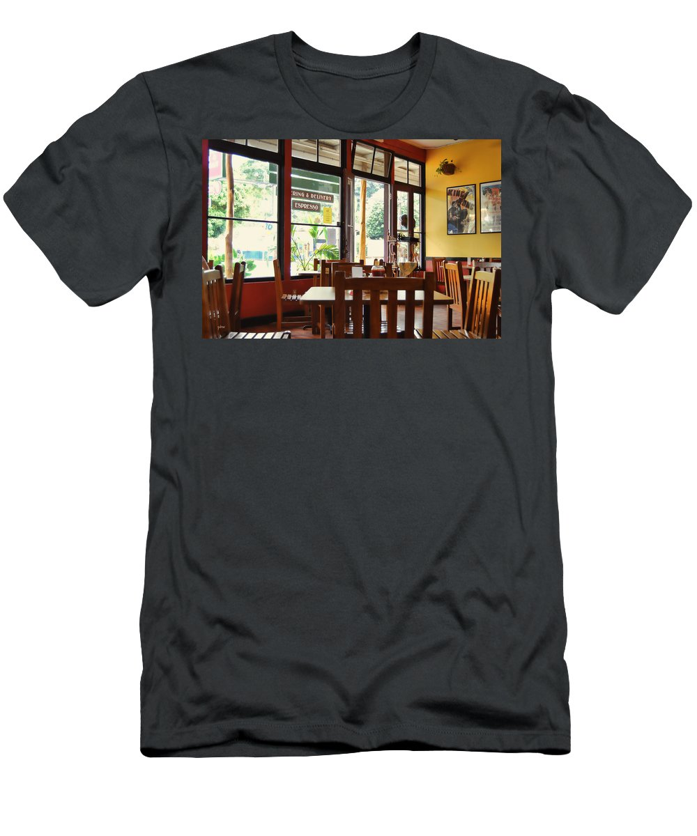 Interiors Men's T-Shirt (Athletic Fit) featuring the photograph Espresso - Aloha Angel Cafe by Paulette B Wright