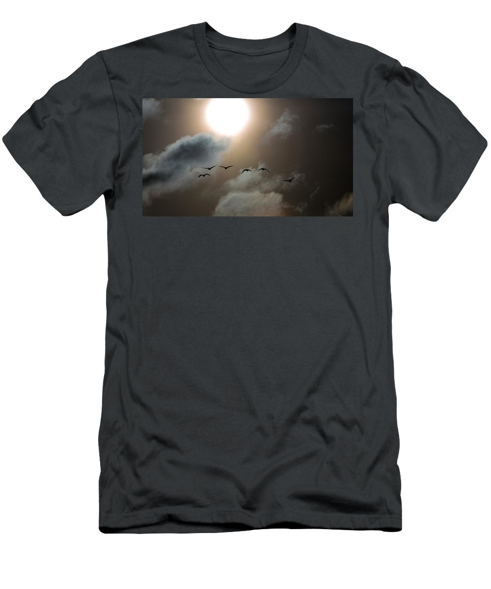 Sunset Men's T-Shirt (Athletic Fit) featuring the photograph Evening Flight by Donald J Gray