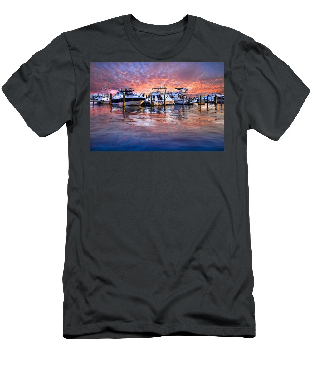Boats Men's T-Shirt (Athletic Fit) featuring the photograph Evening Harbor by Debra and Dave Vanderlaan