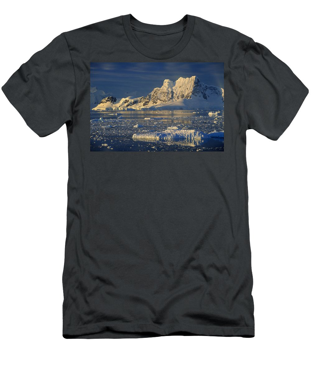 Feb0514 Men's T-Shirt (Athletic Fit) featuring the photograph Evening Light On Peaks Paradise Bay by Colin Monteath