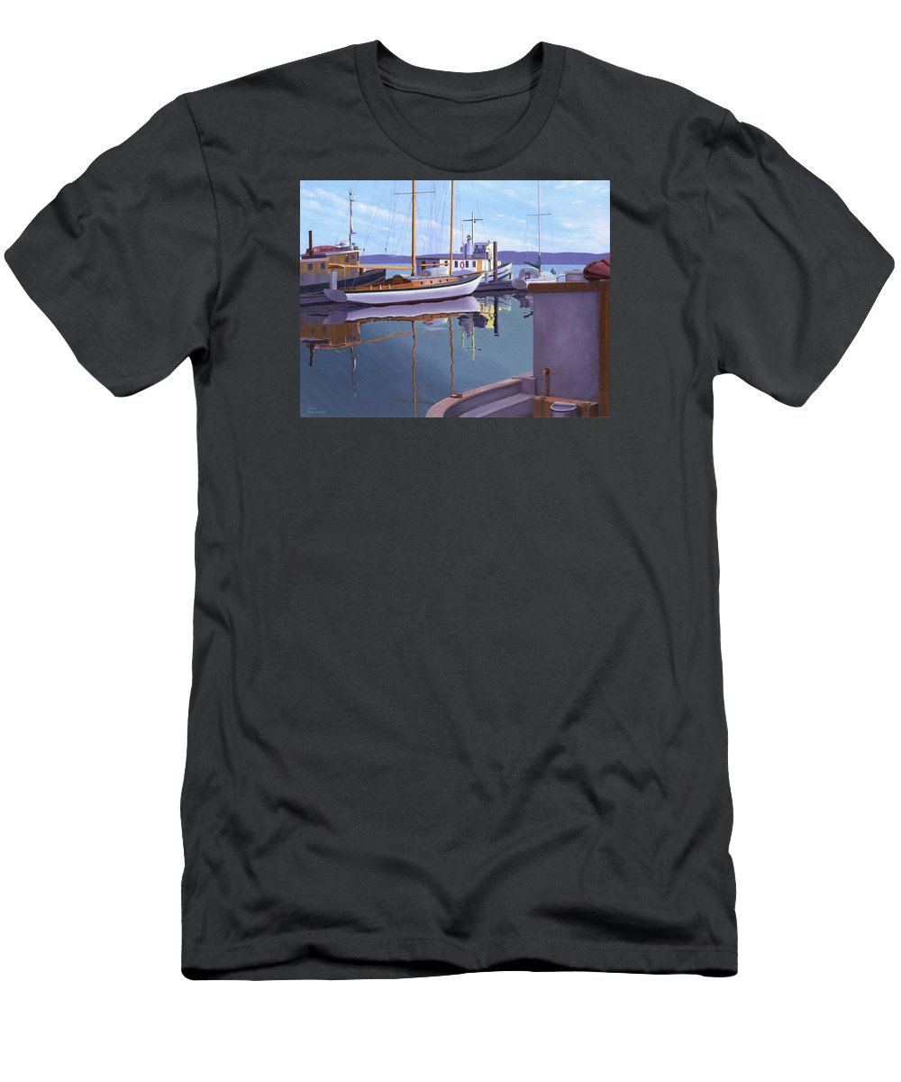 Schooner T-Shirt featuring the painting Evening on Malaspina Strait by Gary Giacomelli