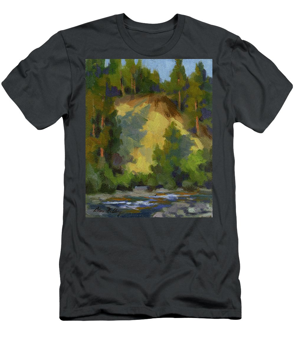 Evening Men's T-Shirt (Athletic Fit) featuring the painting Evening Shadows Teanaway River by Diane McClary