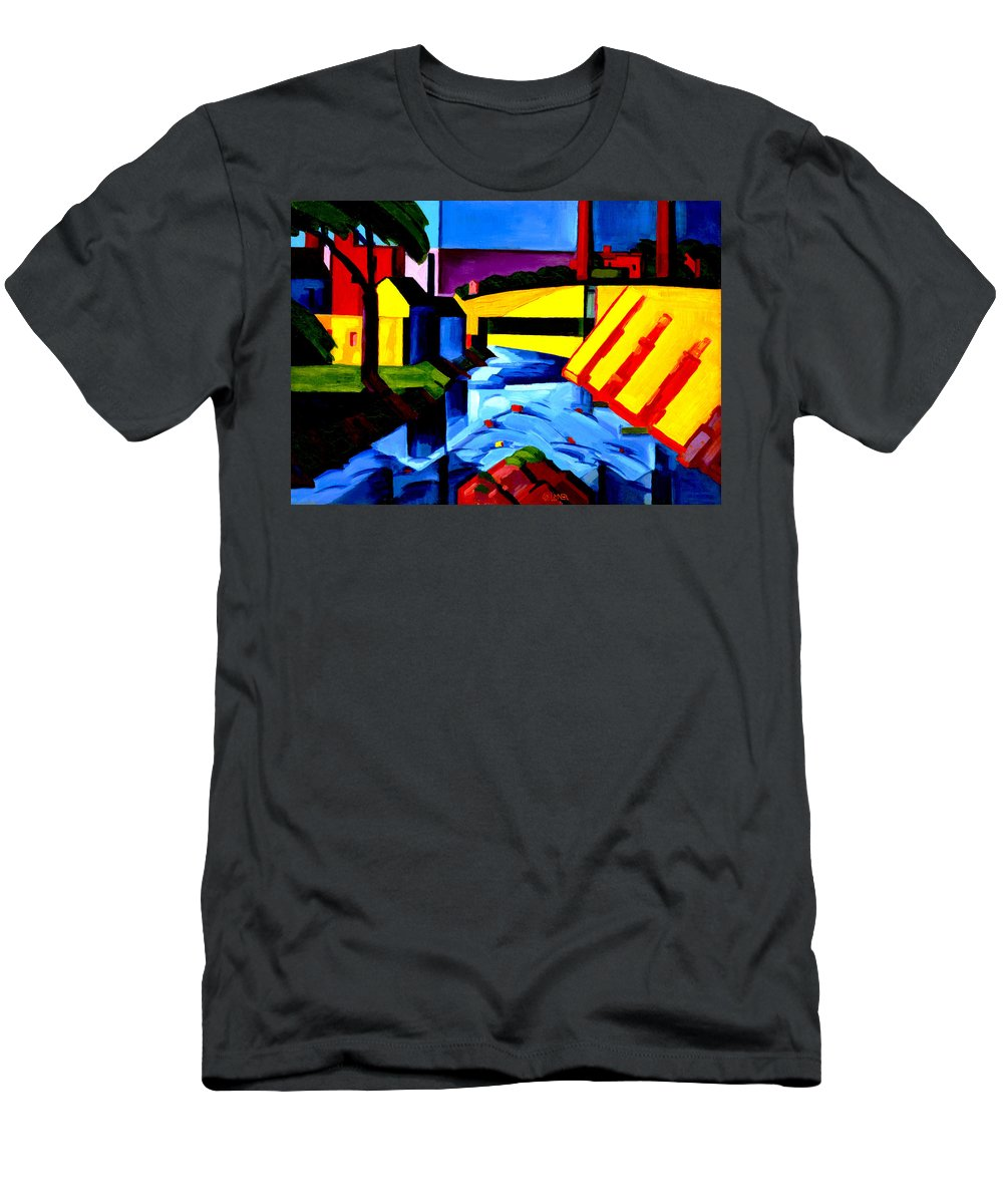 Oscar Florianus Bluemner Men's T-Shirt (Athletic Fit) featuring the digital art Evening Tones by Oscar Bluemner