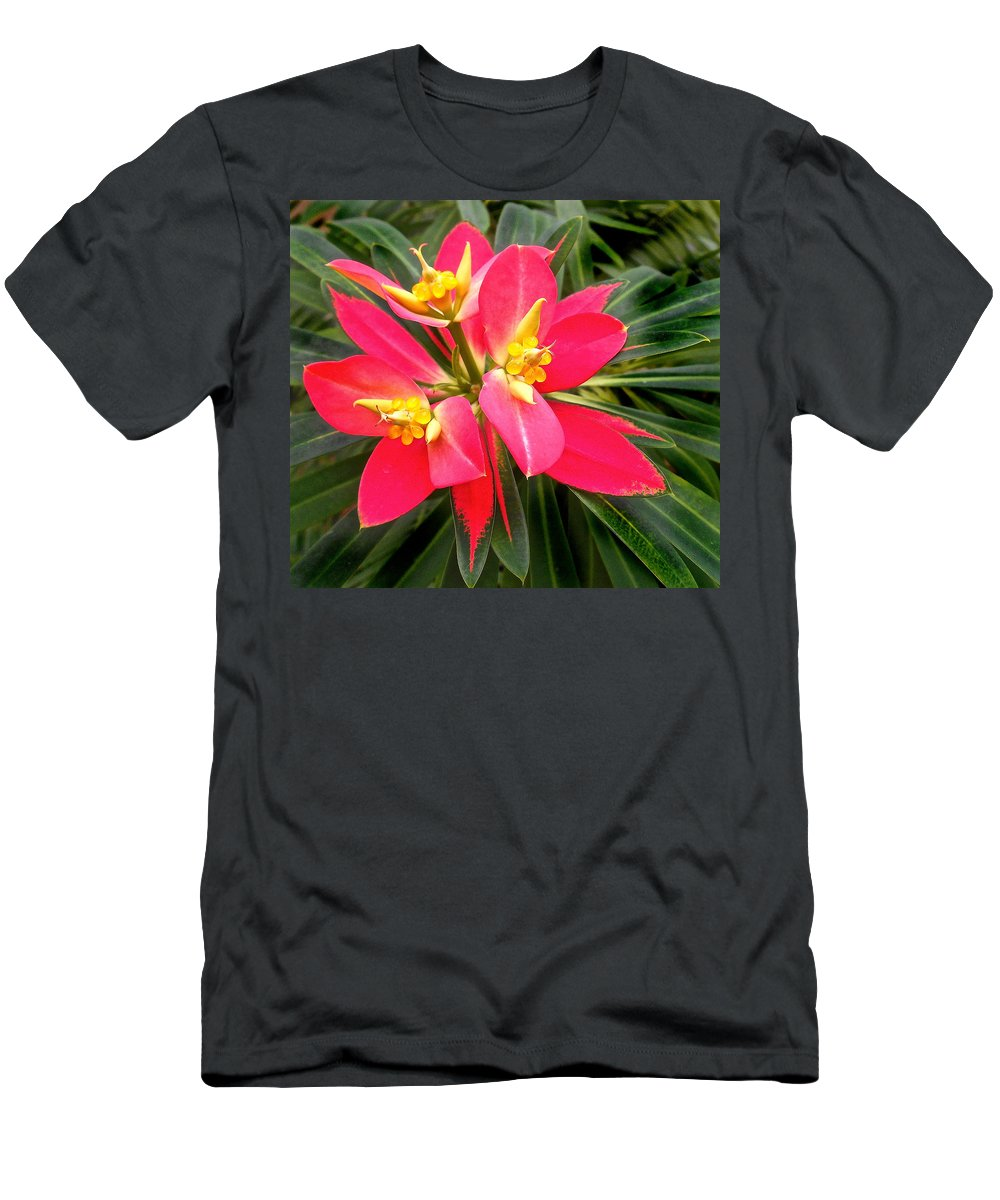 Beautiful Men's T-Shirt (Athletic Fit) featuring the photograph Exotic Red Flower by Joan Reese