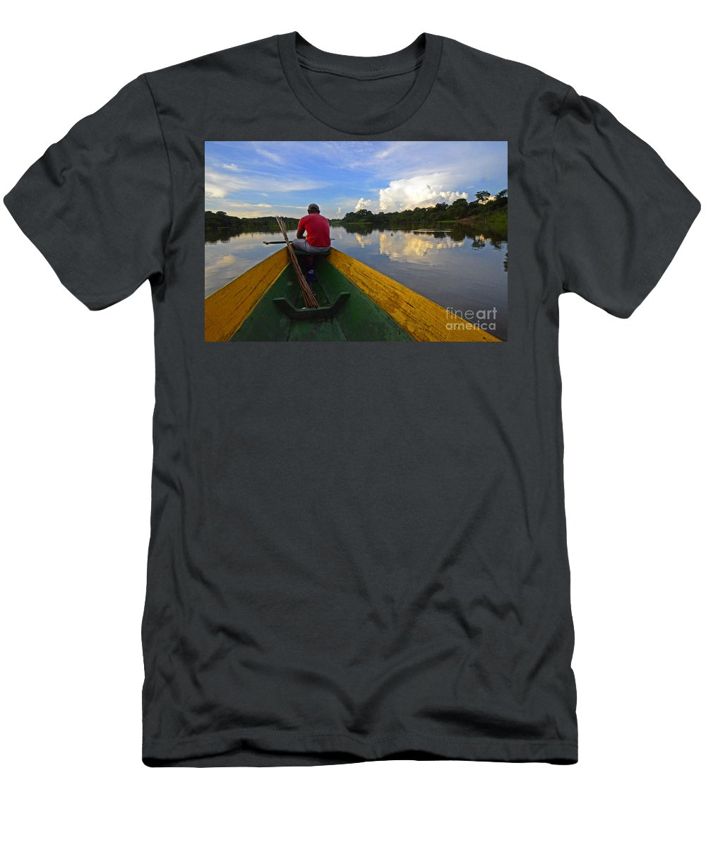 Amazon Men's T-Shirt (Athletic Fit) featuring the photograph Exploring Amazonia by Bob Christopher