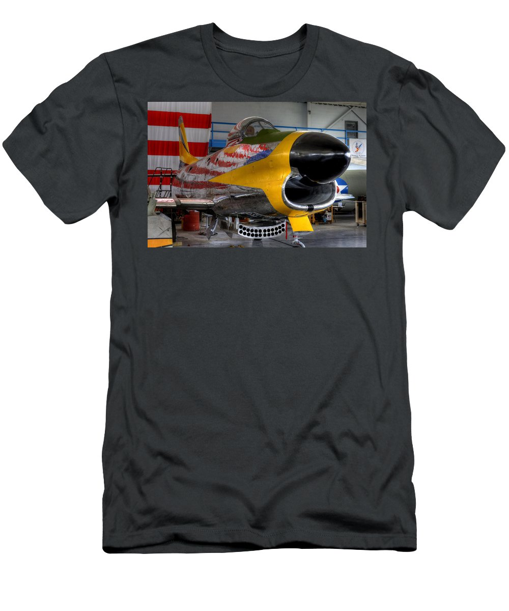 North American Aviation Men's T-Shirt (Athletic Fit) featuring the photograph F-86 D by David Dufresne