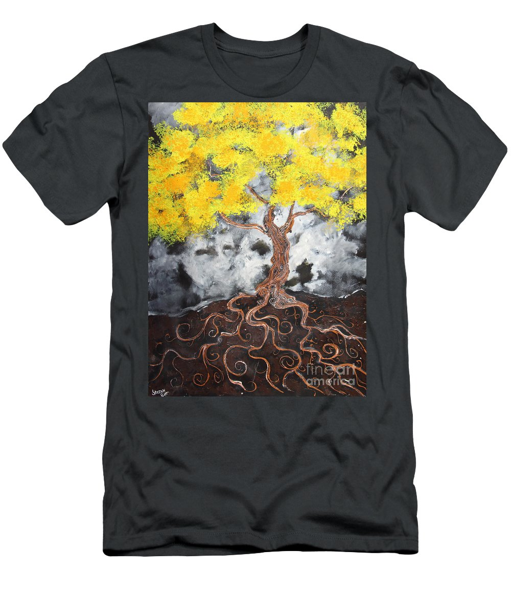 Landscape Men's T-Shirt (Athletic Fit) featuring the painting Facing Reality by Stefan Duncan