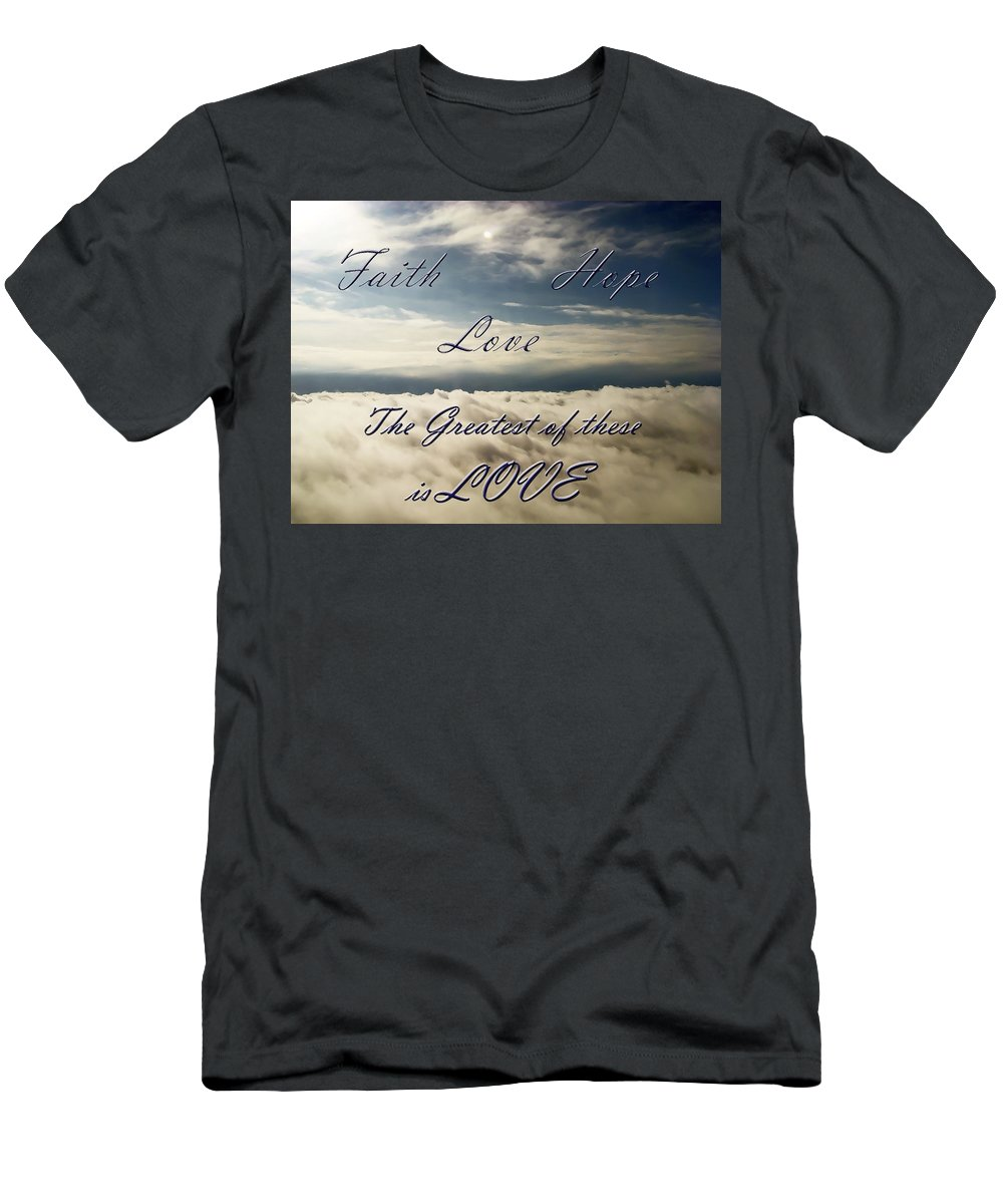 Cloud Men's T-Shirt (Athletic Fit) featuring the photograph Faith Hope Love by Aimee L Maher ALM GALLERY