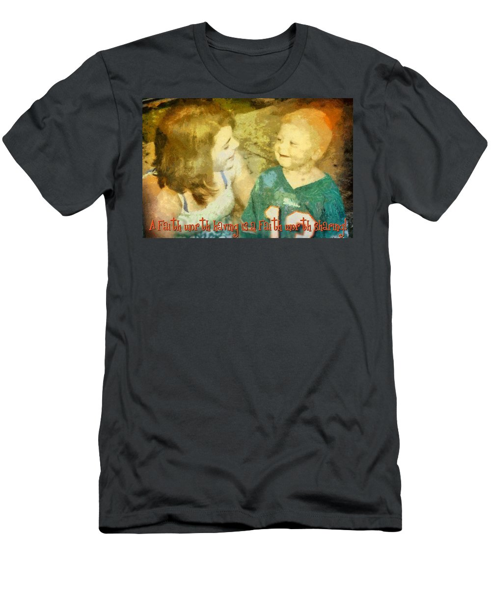 Jesus Men's T-Shirt (Athletic Fit) featuring the digital art Faith Worth Sharing by Michelle Greene Wheeler