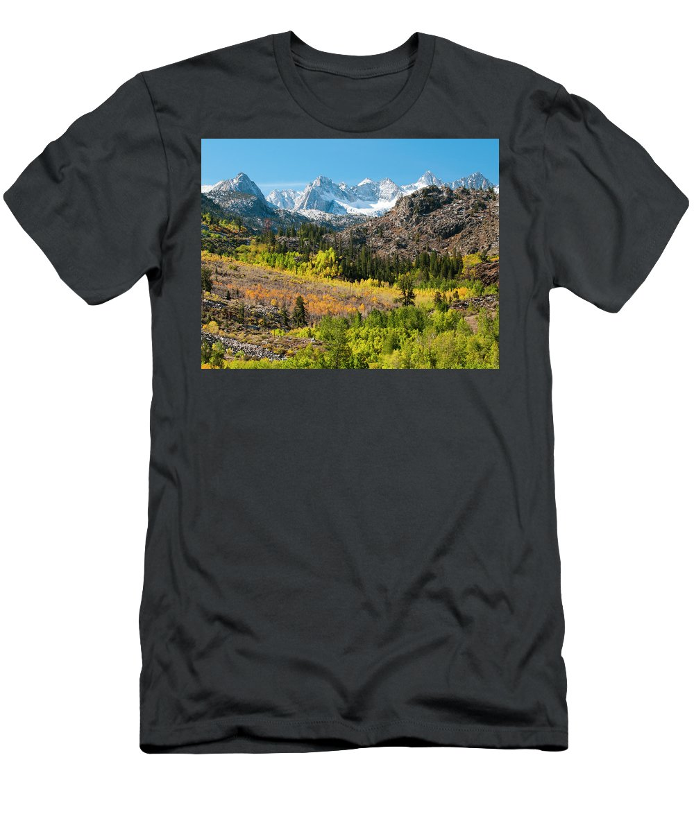 Autumn Men's T-Shirt (Athletic Fit) featuring the photograph Fall Aspen Below The Sierra Crest by Josh Miller Photography