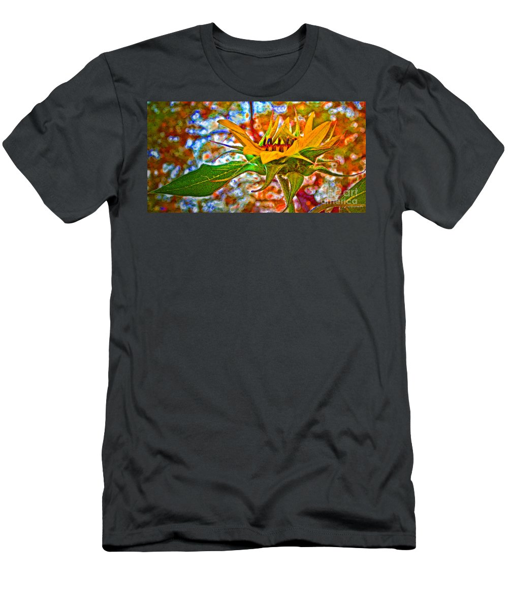 Sunflower Men's T-Shirt (Athletic Fit) featuring the photograph Fall Aspirations by Gwyn Newcombe