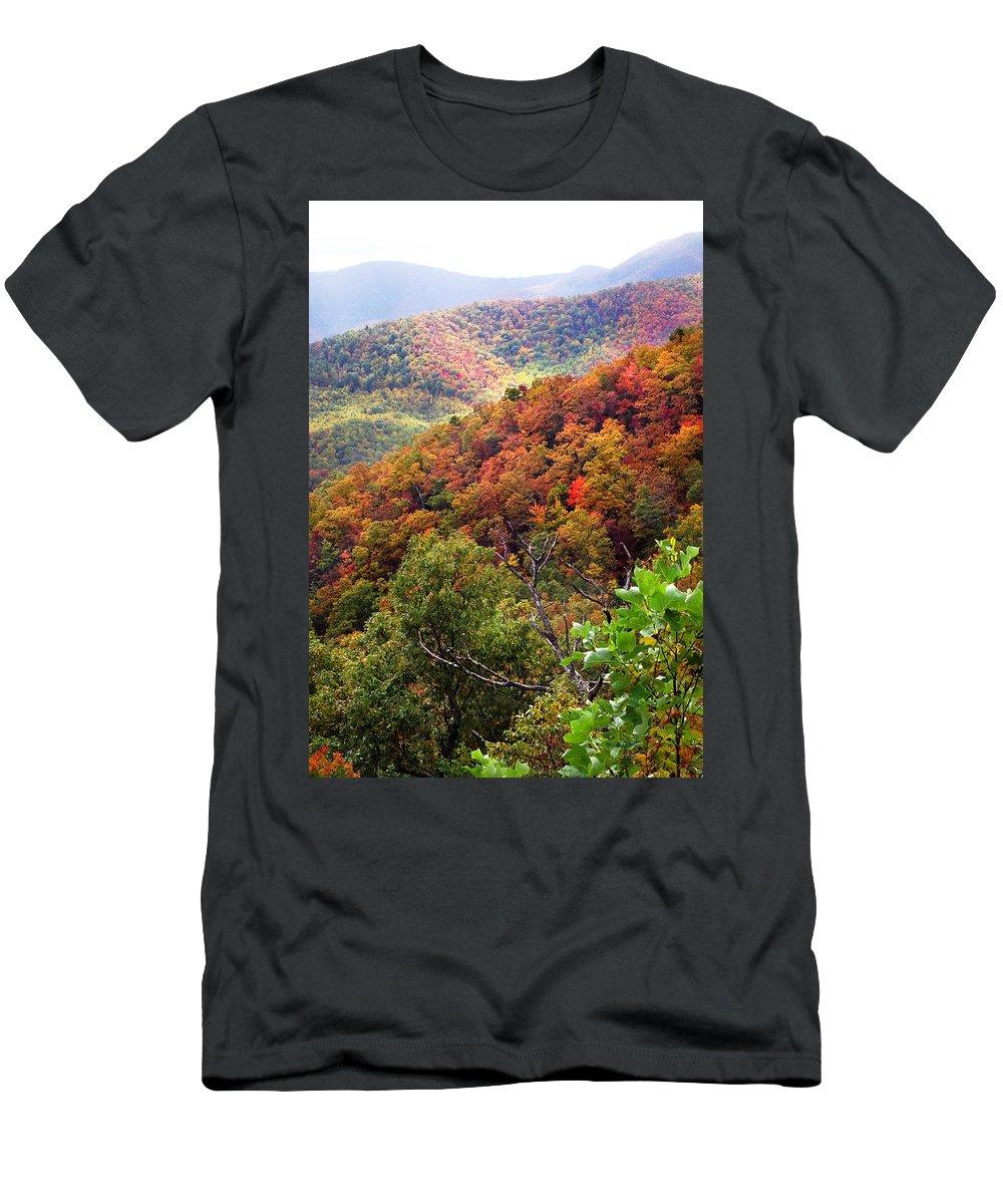 Landscapes. Printscapes Men's T-Shirt (Athletic Fit) featuring the photograph Fall Colors Along The Blueridge by Duane McCullough