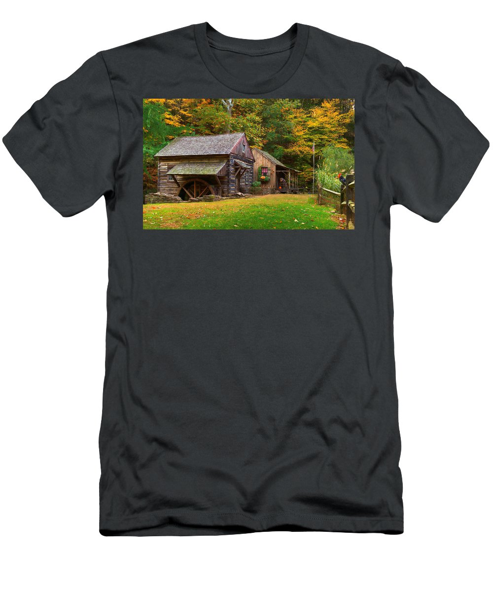 Farm Men's T-Shirt (Athletic Fit) featuring the photograph Fall Down On The Farm by William Jobes