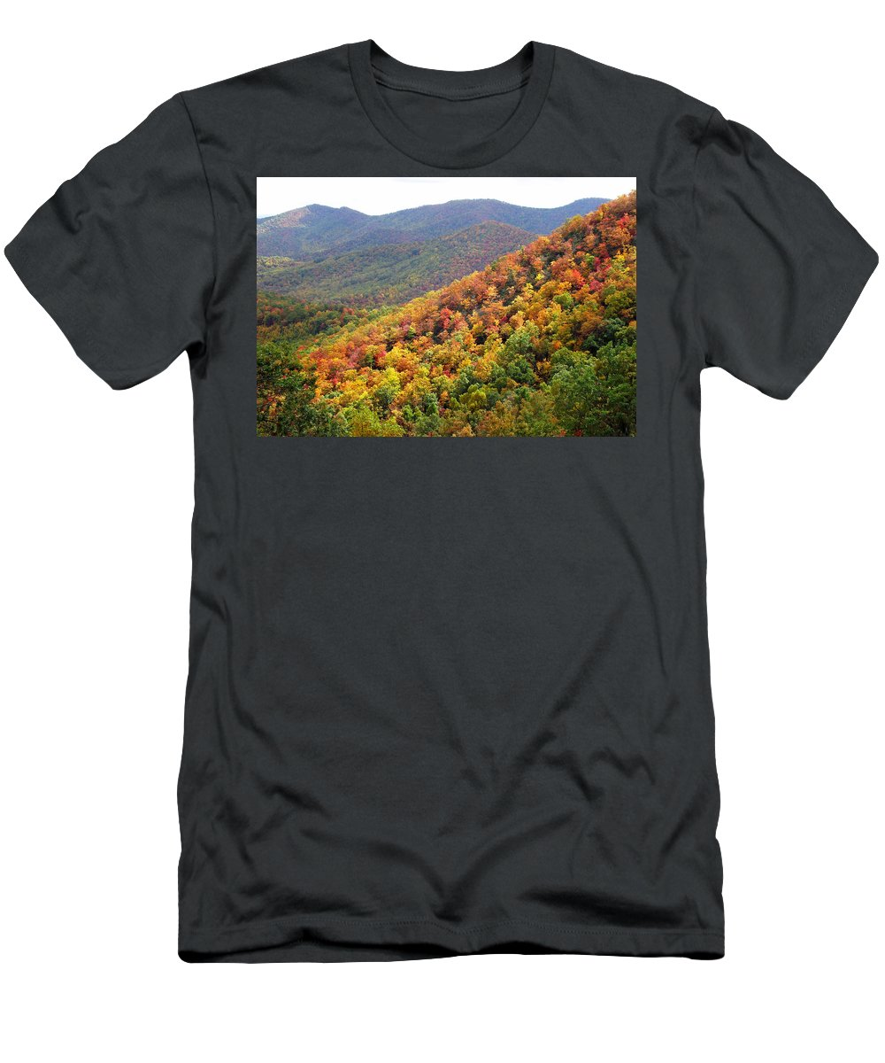 Duane Mccullough Men's T-Shirt (Athletic Fit) featuring the photograph Fall Folage 2 Along The Blueridge by Duane McCullough