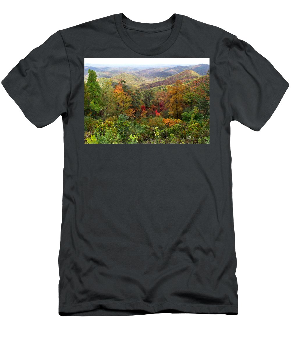Landscapes. Printscapes Men's T-Shirt (Athletic Fit) featuring the photograph Fall Folage 3 Along The Blueridge by Duane McCullough