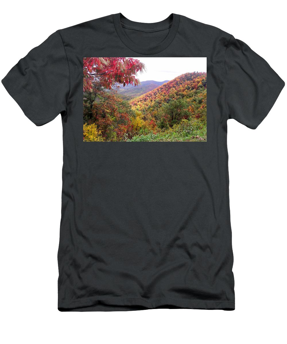 Landscapes. Printscapes Men's T-Shirt (Athletic Fit) featuring the photograph Fall Folage Along The Blueridge by Duane McCullough