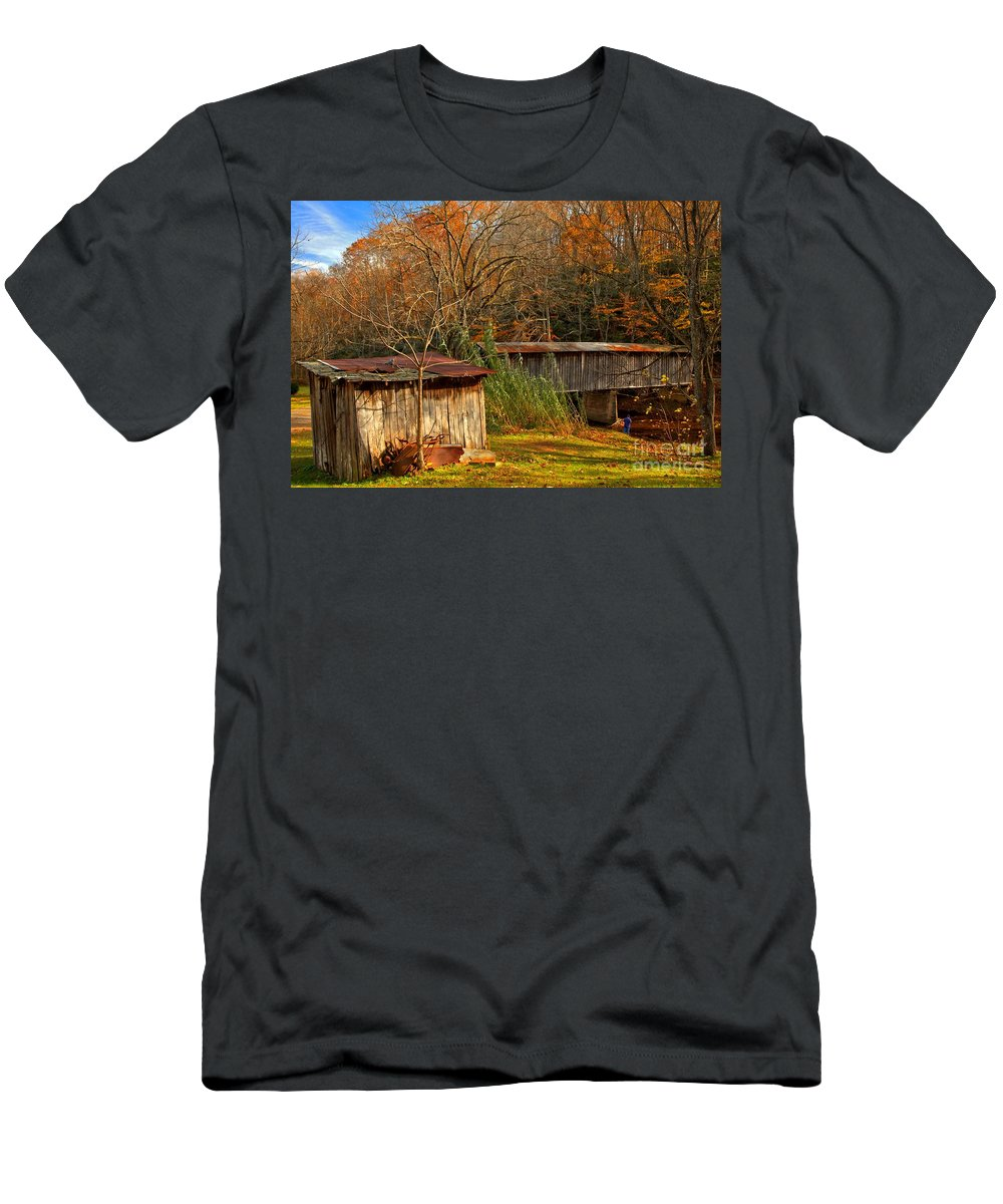 Meems Bottom Men's T-Shirt (Athletic Fit) featuring the photograph Fall Foliage At Meems Bottom Bridge by Adam Jewell