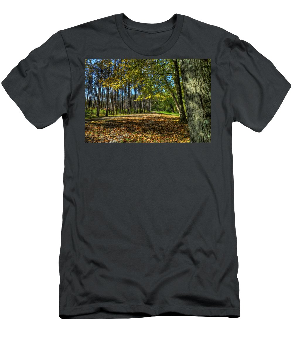Landscape Men's T-Shirt (Athletic Fit) featuring the photograph Fall Folliage Stroll by David Dufresne