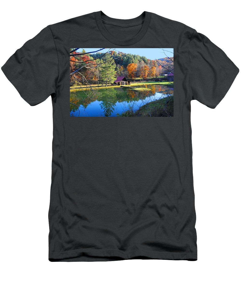 Fall Men's T-Shirt (Athletic Fit) featuring the photograph Fall Reflections At The Farm by Lynn Bauer