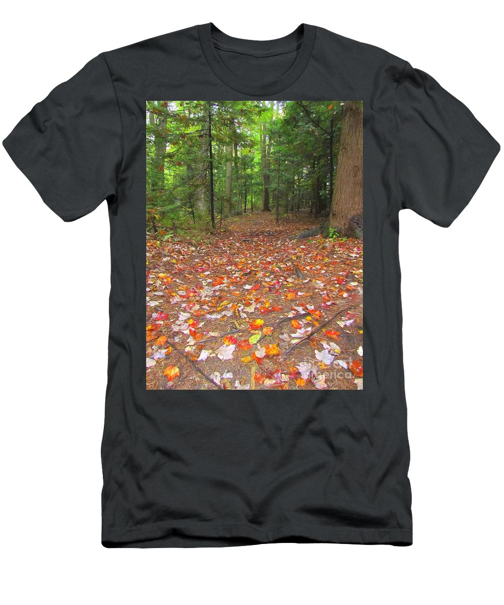 Leaves Men's T-Shirt (Athletic Fit) featuring the photograph Fallen Leaves by Elizabeth Dow