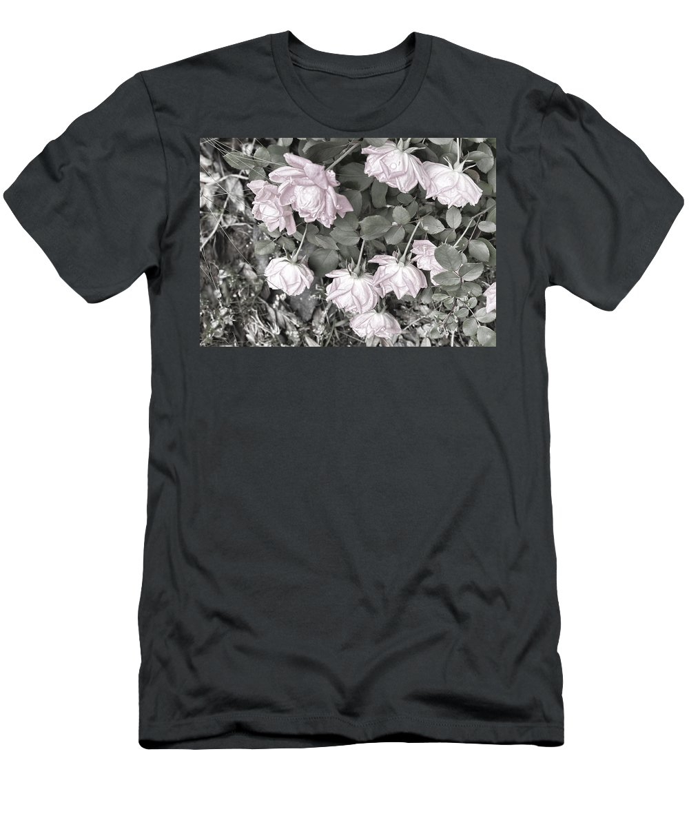 Roses Men's T-Shirt (Athletic Fit) featuring the digital art Falling Roses by Bonnie Willis