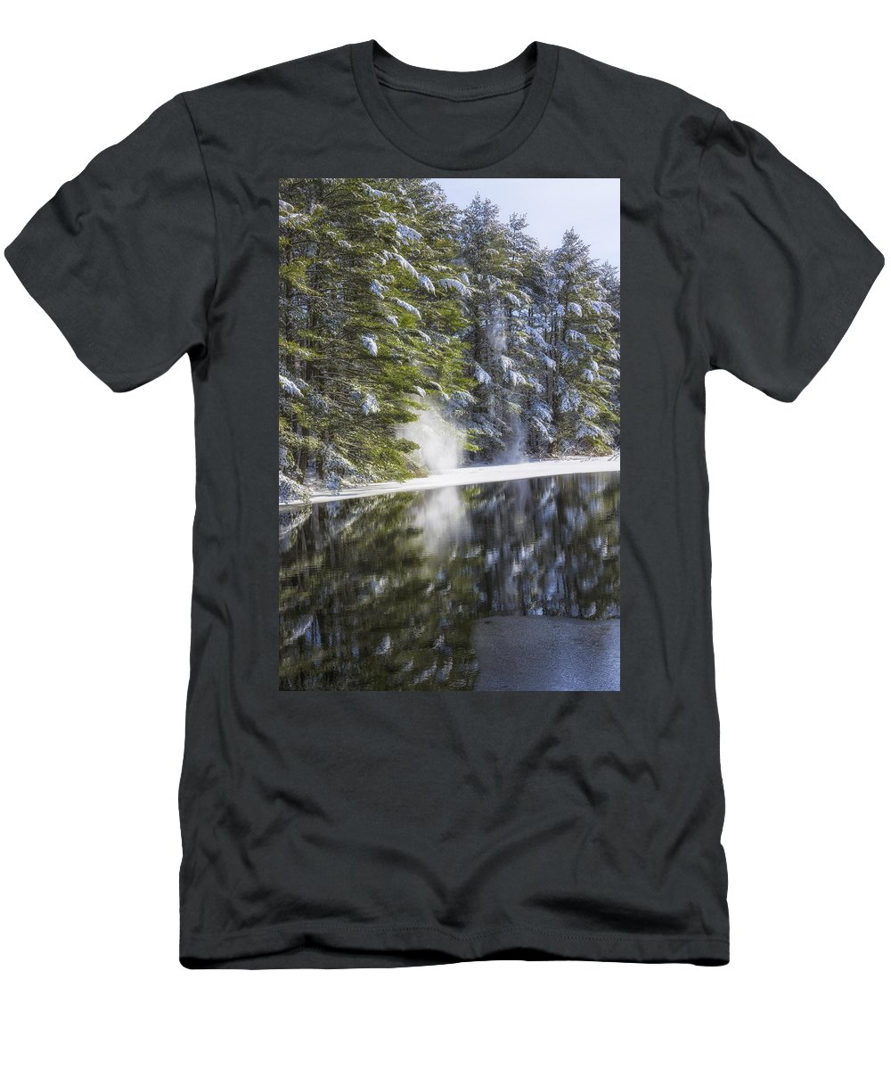 As The Snow Falls Men's T-Shirt (Athletic Fit) featuring the photograph Falling Snow by Karol Livote