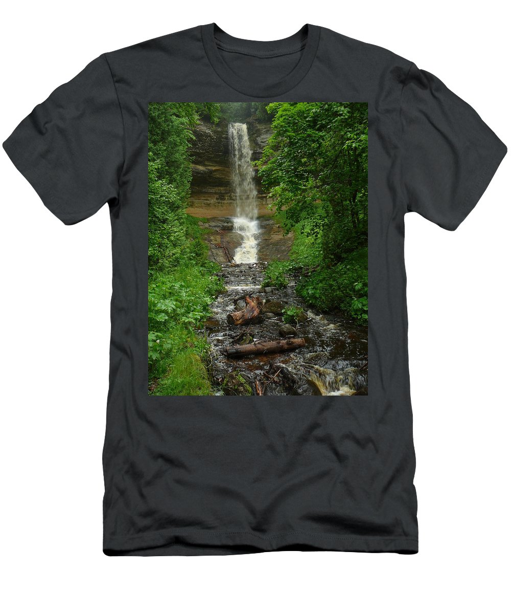 Upper Peninsula Men's T-Shirt (Athletic Fit) featuring the photograph Falling Water by Two Bridges North