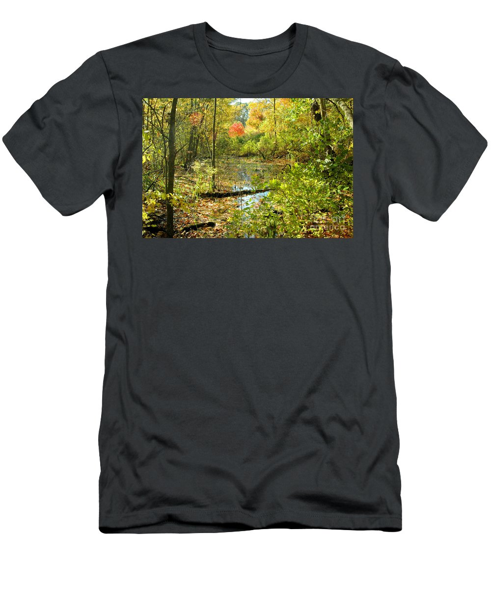 Leaves Men's T-Shirt (Athletic Fit) featuring the photograph Fallscape by Trish Hale