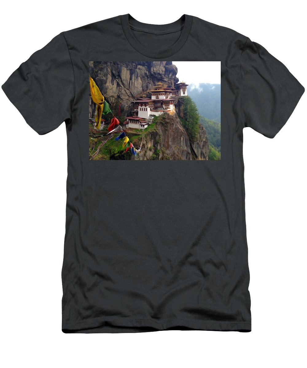 Architect Men's T-Shirt (Athletic Fit) featuring the painting Famous Tigers Nest Monastery Of Bhutan 10 by Jeelan Clark