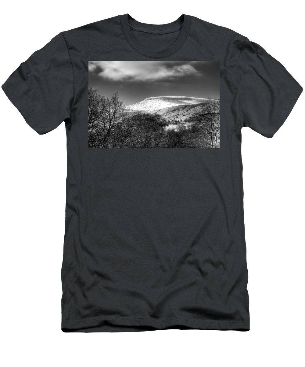 Fan Fawr Mountain Men's T-Shirt (Athletic Fit) featuring the photograph Fan Fawr Brecon Beacons 3 Mono by Steve Purnell
