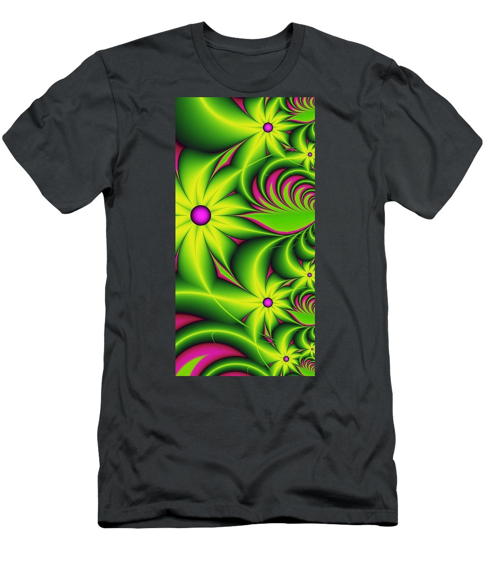 Fractal Men's T-Shirt (Athletic Fit) featuring the digital art Fantasy Flowers by Gabiw Art