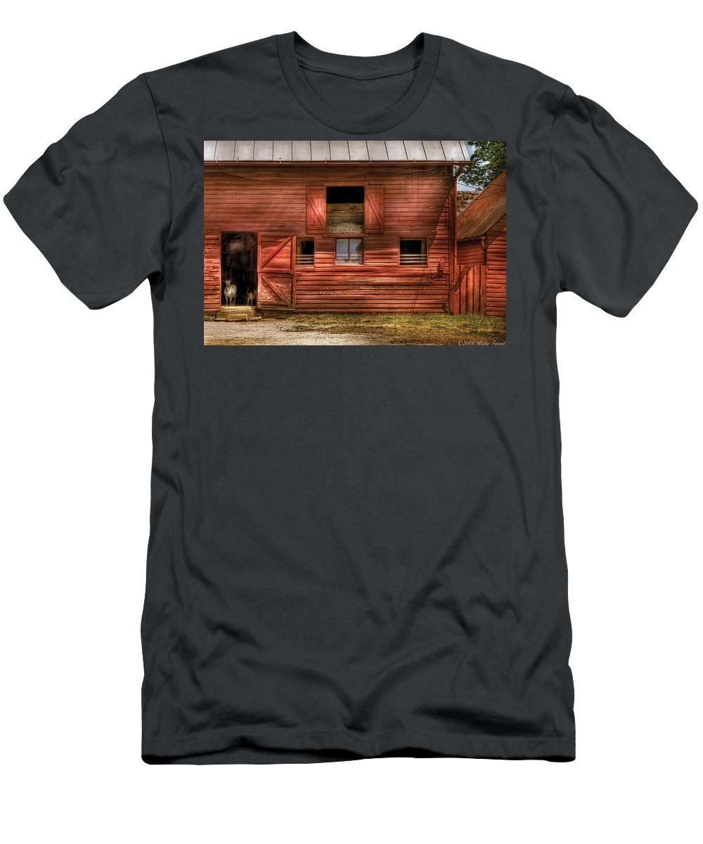 Savad Men's T-Shirt (Athletic Fit) featuring the photograph Farm - Barn - Visiting The Farm by Mike Savad