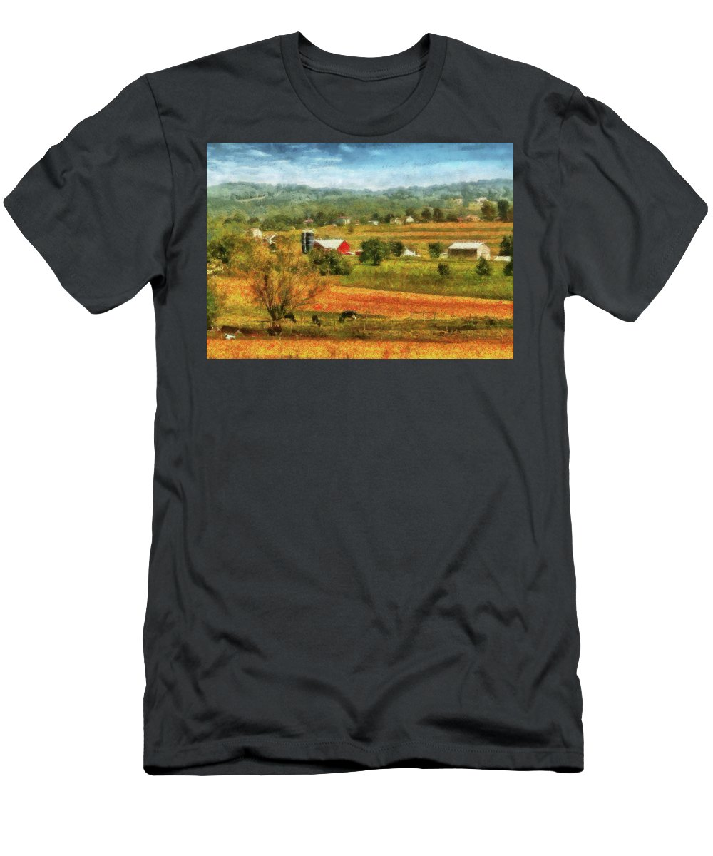 Savad Men's T-Shirt (Athletic Fit) featuring the photograph Farm - Cow - Cows Grazing by Mike Savad