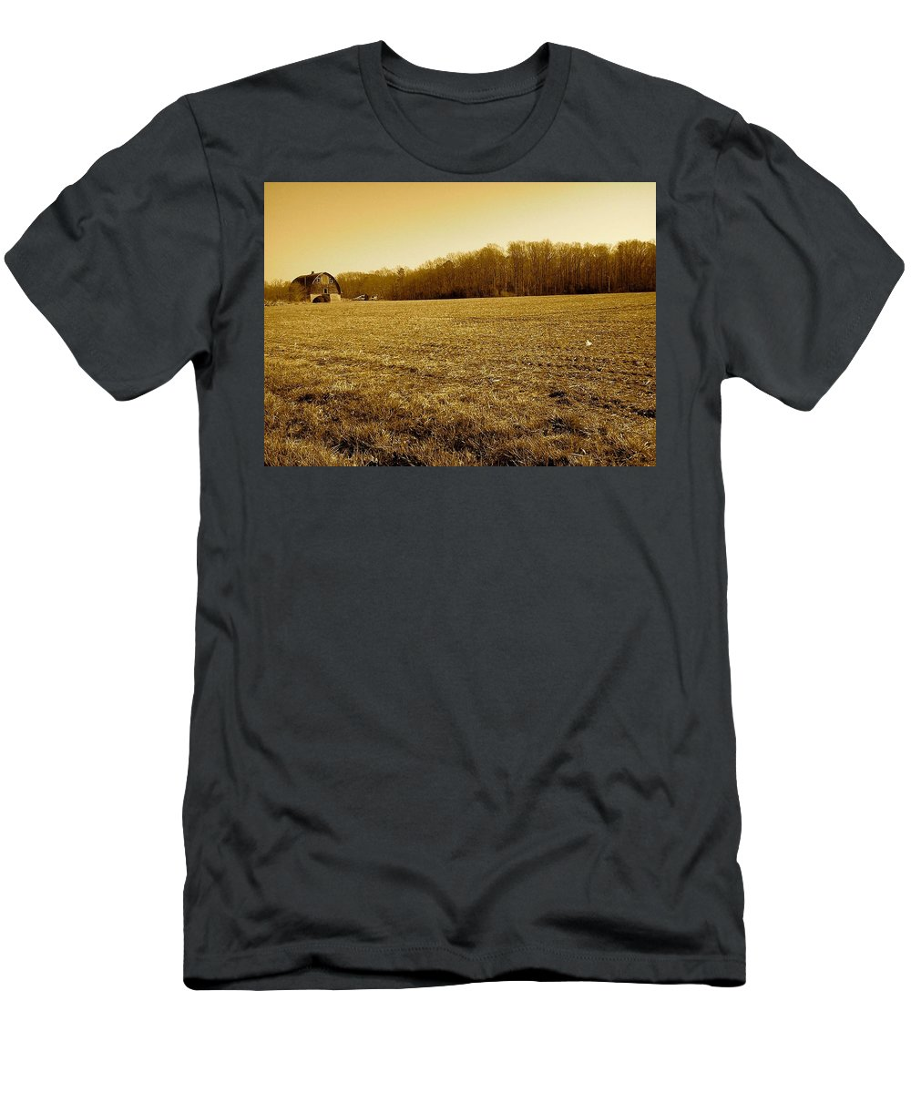 Farm Men's T-Shirt (Athletic Fit) featuring the photograph Farm Field With Old Barn In Sepia by Chris W Photography AKA Christian Wilson