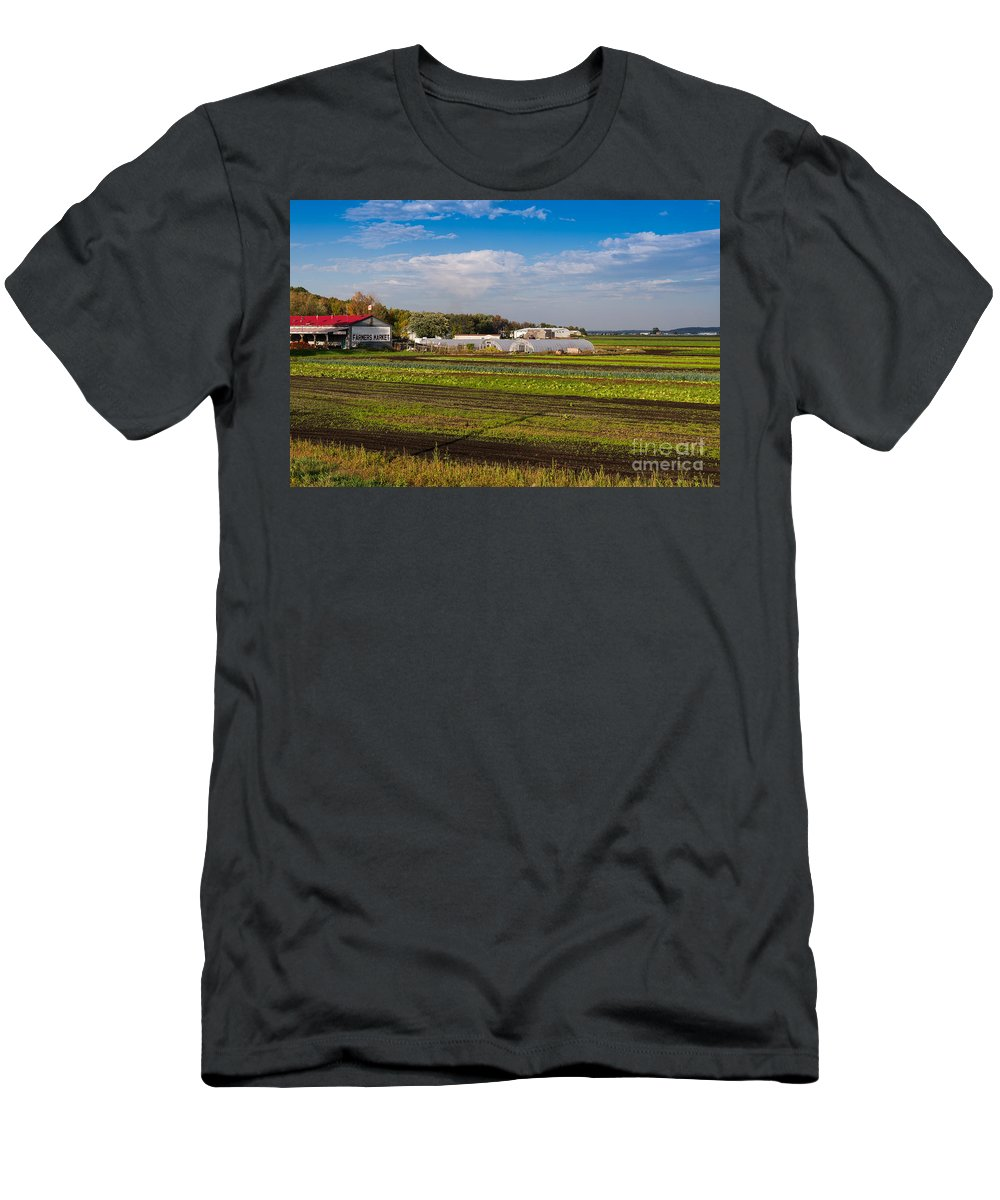 Farm Men's T-Shirt (Athletic Fit) featuring the photograph Farmer's Market And Green Fields by Les Palenik