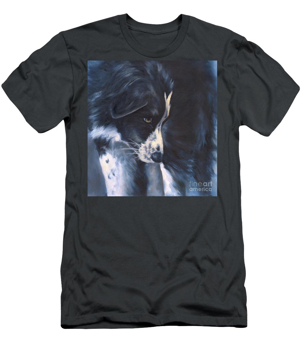 Dog Men's T-Shirt (Athletic Fit) featuring the painting Fascinated by Linda Shantz