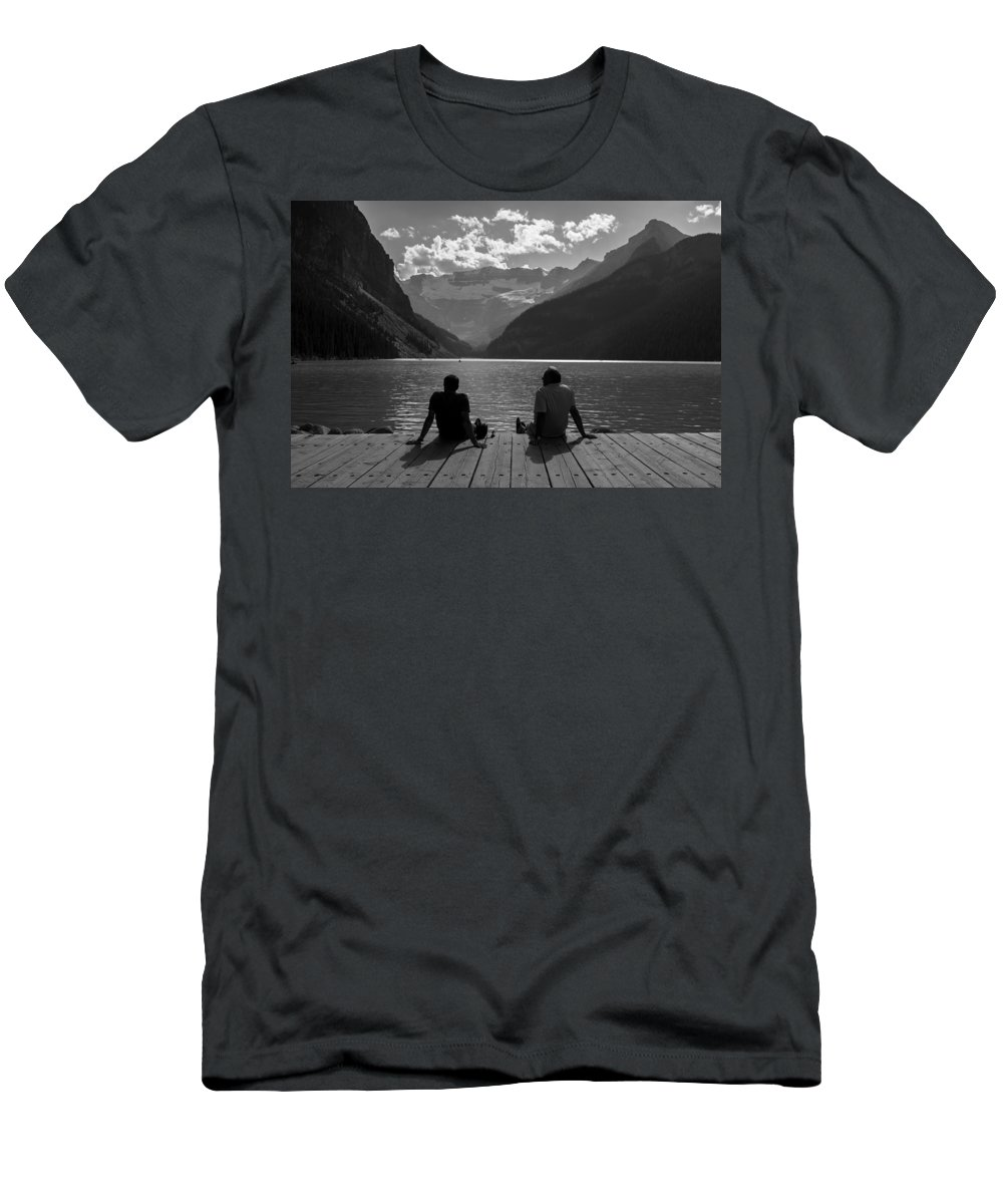B&w Men's T-Shirt (Athletic Fit) featuring the photograph Father And Son by Sergio Lanza