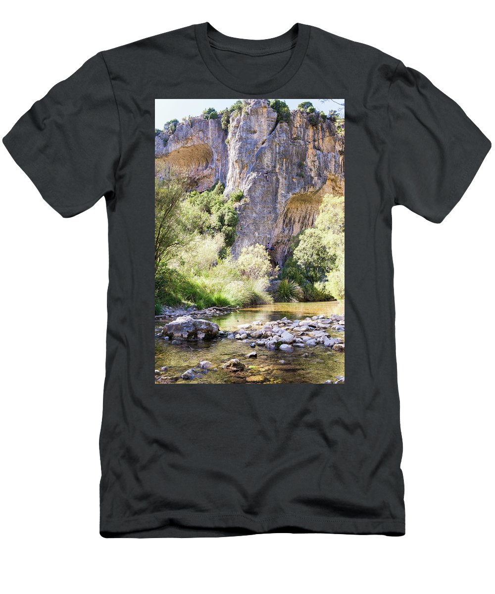 Aragon Men's T-Shirt (Athletic Fit) featuring the photograph Female Climber, On A Beautiful Route by Jorge Bras