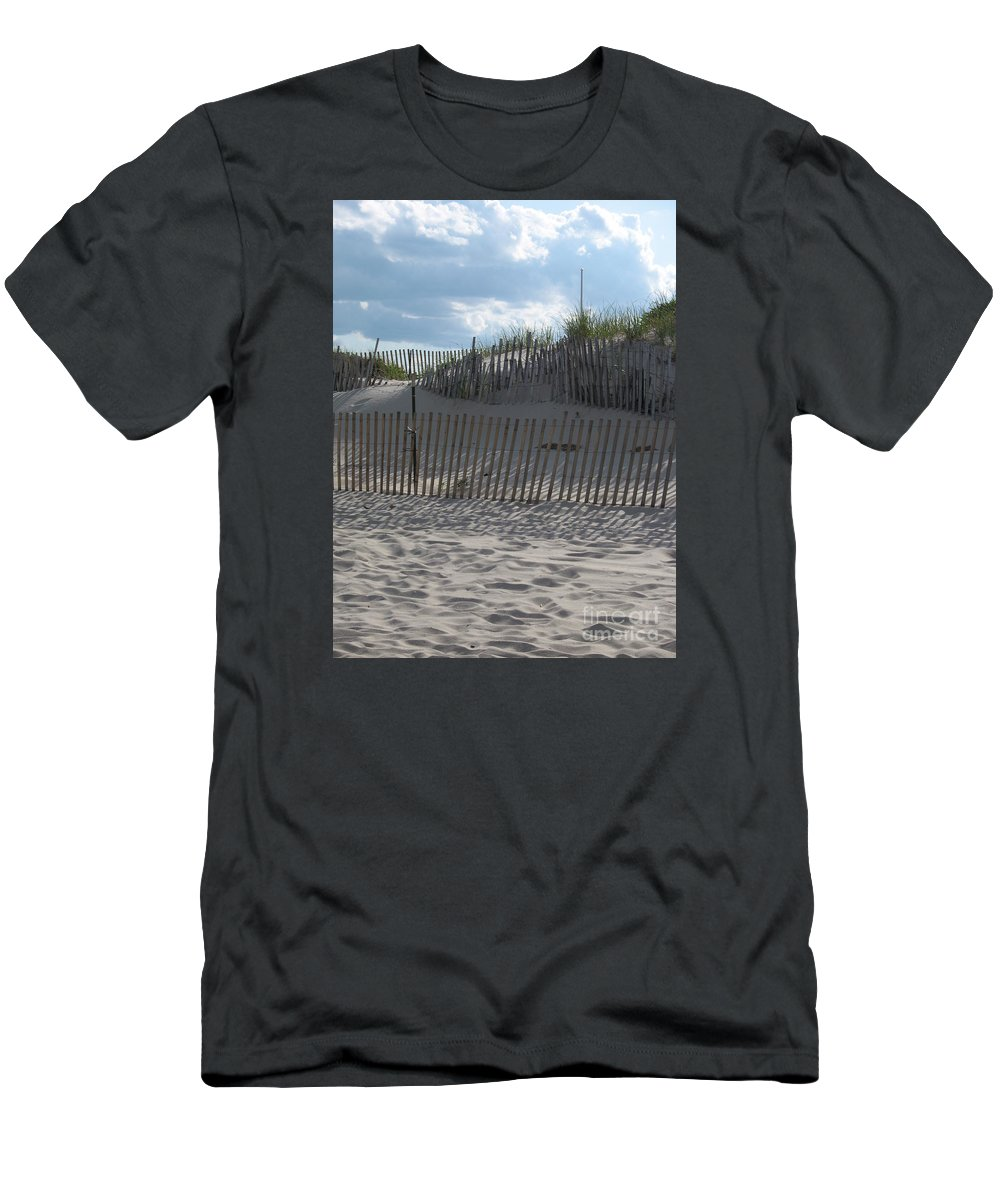 Fence Men's T-Shirt (Athletic Fit) featuring the photograph Fenced Dune by Christiane Schulze Art And Photography