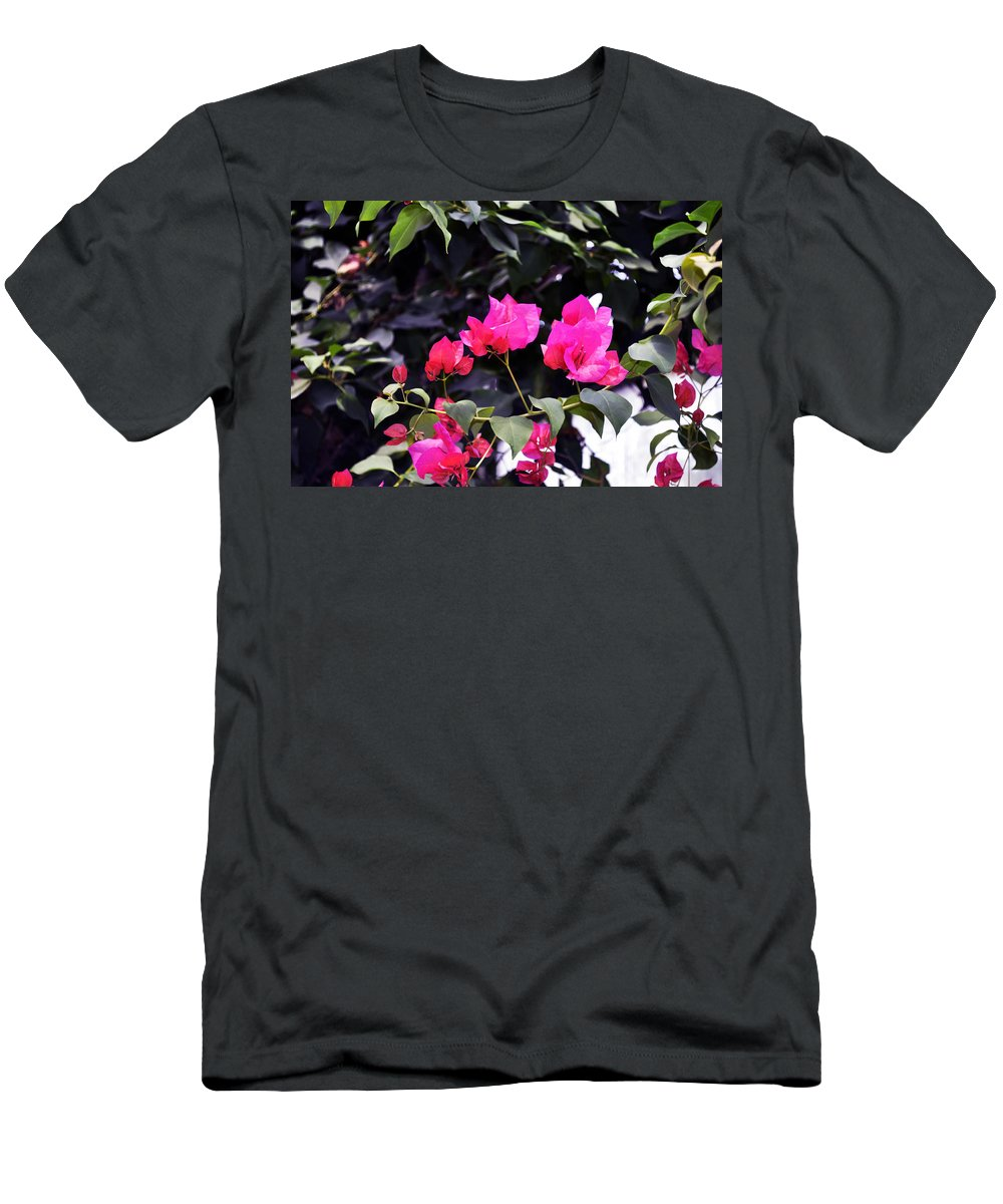 Horizontal Men's T-Shirt (Athletic Fit) featuring the photograph Fernwood Botanical Garden Bougainvillea Niles Michigan Usa by Sally Rockefeller
