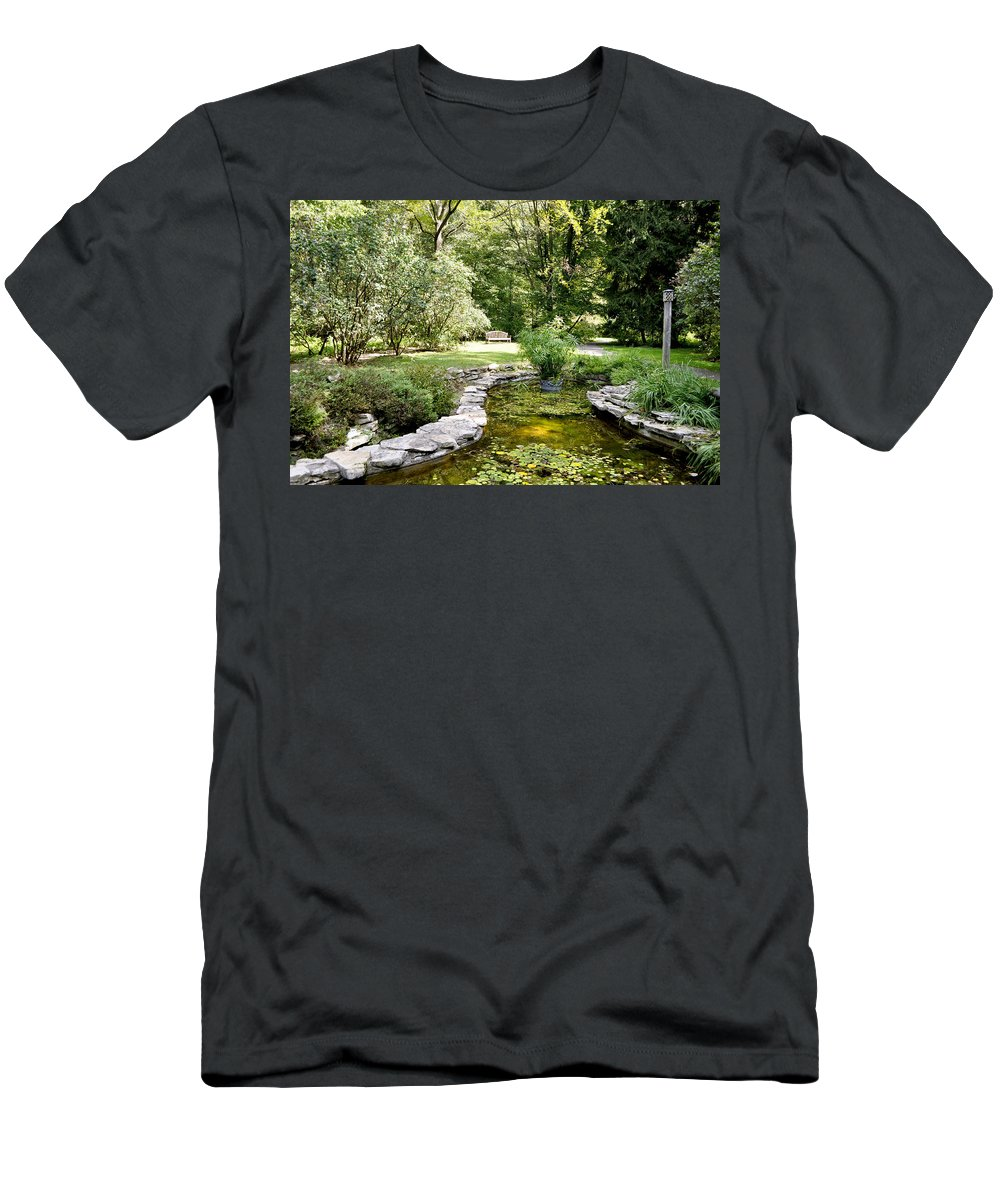 Horizontal Men's T-Shirt (Athletic Fit) featuring the photograph Fernwood Botanical Garden Frog Pond With Bench Niles Michigan Us by Sally Rockefeller