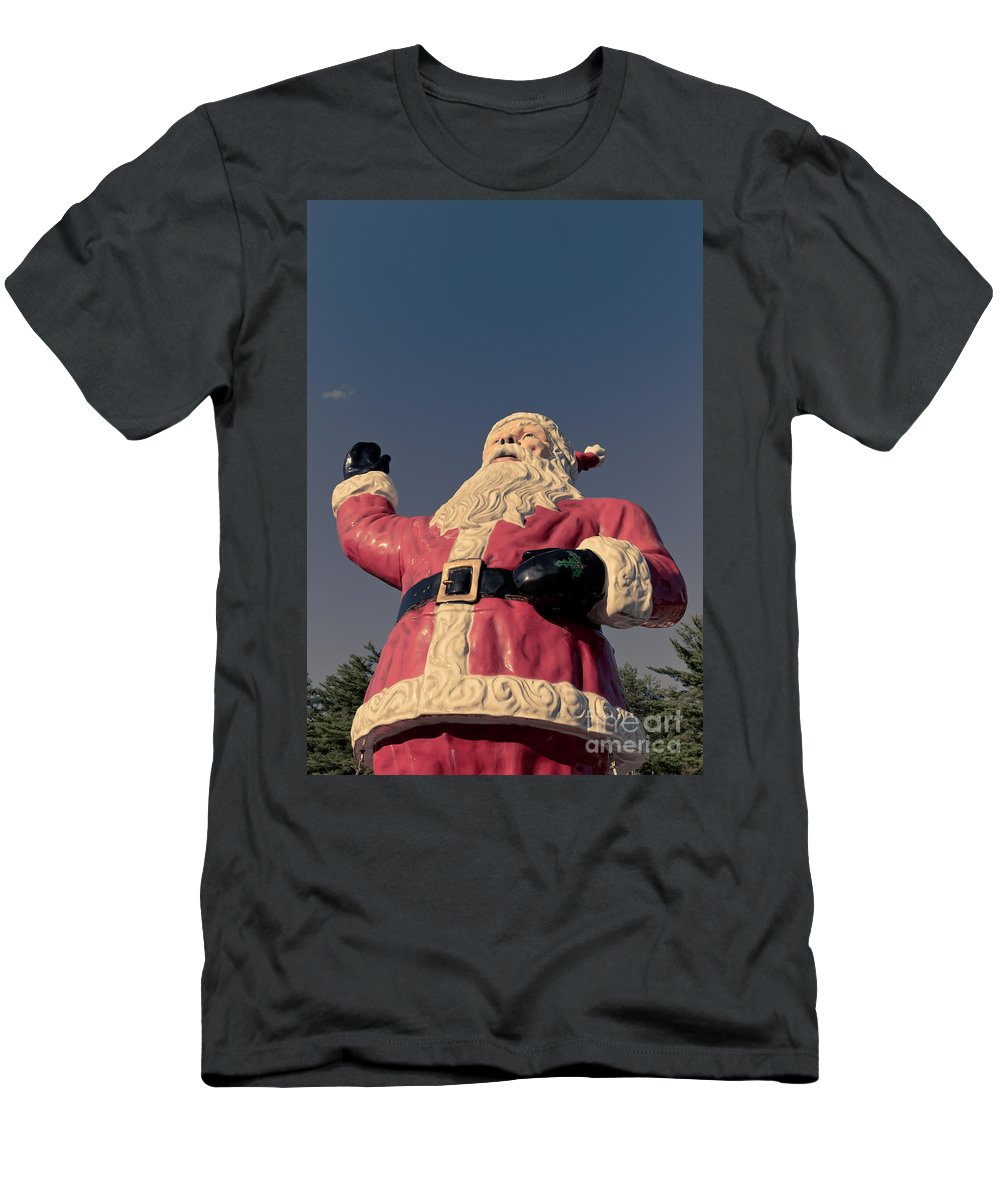 Lake George Men's T-Shirt (Athletic Fit) featuring the photograph Fiberglass Santa Claus by Edward Fielding